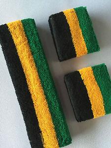 Green Yellow Black Stripe Sports Unisex Cotton HeadBand WristBand Sweatband Set