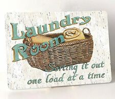 LAUNDRY ROOM PLAQUE Sign Hanging Vintage Shabby Chic One Load At A Time Plaque