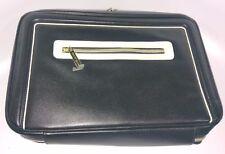 Estee Lauder Black w/ Tan Trim Makeup Cosmetic Bag Gold Zipper Train Case