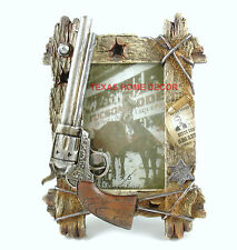 "Western Pistol Picture Frame Bullet Hole Faux Wood Wire Holds 4""x6"" Size Photo"