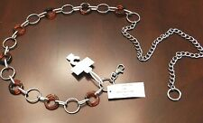 NEW $30 WOMENS NICKEL CIRCLE LINK CHAIN FASHION BELT SIZE S/M