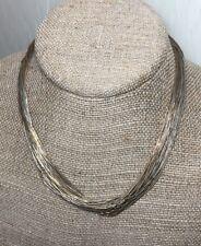"Vintage 30 Strand 16"" Liquid Silver Necklace Sterling & Vermeil Gold Navajo"
