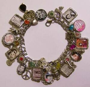 Bob Dylan Inspired Charm Bracelet Hand Crafted Glass Dome