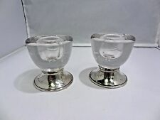 Vintage Frank M Whiting Mid-century Modern Candle Holders Sterling and Glass
