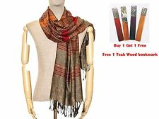Tan Thai Silk Brown Striped Scarf Scarves Unisex Shawl Wrap Pashima Cape