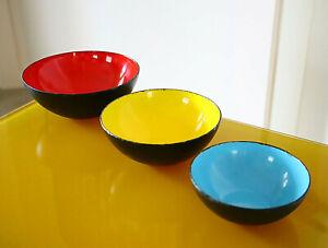 Mid-Century Modern Nesting Krenit Enamel Bowls Denmark