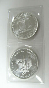 TWO (2) US 1 oz .999 FINE SILVER ROUNDS with LIBERTY BELL & EAGLE DESIGN!