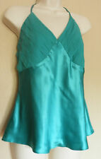 COAST (UK12 / EU40) TURQUOISE FULLY-LINED HALTERNECK TOP WITH SILK OUTER