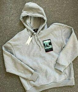 Mens Oversized Lee Printed Jumper Hoodie Baggy Grey Size M 207