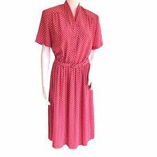 Eastex Vintage Dress UK 14 Pink White Spots 1980s Pleated Belt Shoulder Pad EU40