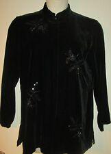 Carole Little VELVET TUNIC TOP L Bead & Sequin Detail LARGE NWT Black Shirt NEW