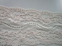 Elegante Spitze elastisch Hell rosa 8cm breit Borte 0306
