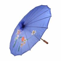 Plum Blossom Pattern Bamboo Foldable Dancing Umbrella Navy blue Y2I8 N2X6