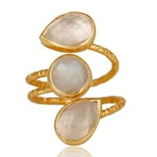 Yellow Gold Plated 925 Silver Rainbow Moonstone Spiral Design Ring Jewelry