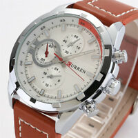 CURREN Men's Stainless Steel Case Faux Leather Band Quartz Analog Wrist Watch
