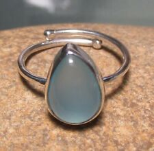 Sterling silver adjustable blue CHALCEDONY ring UK N½/US 7. Gift bag.