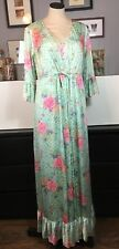 Vintage Vanity Fair Peignoir Set S M L Blue Floral Neglige Robe Nightgown USA