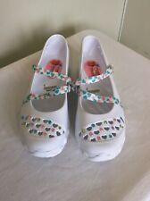 SKECHERS Cali Gear Youths Lightweight White Mary Jane Style Shoe, UK SIZE 5