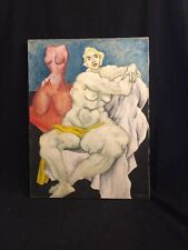 ede-else Signed Modernist Expressionist Female Nude Oil Painting, Circa 1940.