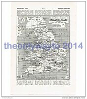 England and Wales, Eccesiastical Divisions, Book Map Illustration (Print),  John