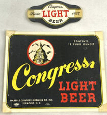 Vintage Congress Light Beer Bottle Can Label Brewing Syracuse New York NY 12oz