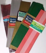 Vintage Dennison Crepe Paper Lot of 5 Unused Metallic Green Grey Coral
