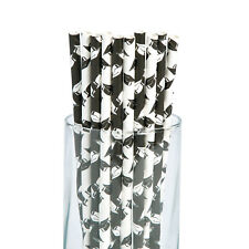 Lot of 24 black CLASS OF 2018 Graduation Party Paper DRINKING Straws