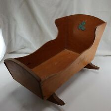 VINTAGE WOODEN BABY DOLL CRADLE w BLUE LAMB DECAL