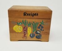 Vintage - Wooden Hinged RECIPE CARD BOX with MCM Art Veggies by Nevco - Japan