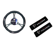 New NFL Atlanta Falcons Car Truck Steering Wheel Cover Seat Belt Covers Pads