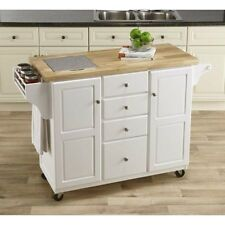 NEW White Kitchen Island with Granite Insert Drawers Spice Rack Rolling Wheels