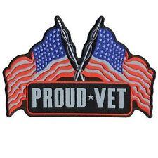 "Proud Vet Usa Flags 10"" x 7"" Back Patch Vet Military Reflective Biker Lrg-0076"