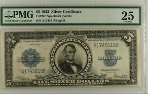 ⭐Porthole Note⭐ 1923 $5 Silver Certificate Bill Abraham Lincoln FR-282 ~ PMG 25