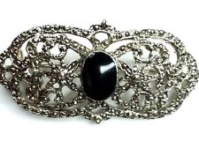 with Onyx Stone * Vintage Art Deco Marcasite Brooch Pin