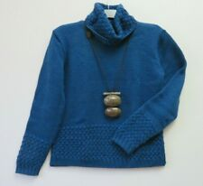 INIS CRAFTS IRELAND, M, STUNNING Blue 100% Wool Celtic Aran Cable Knit Sweater