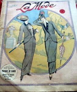 *Antique 1910s PARIS FASHION & SEWING PATTERN CATALOG LA MODE 1914 + TRANSFER