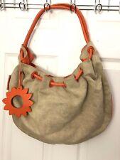 Petusco Large Natural Canvas Orange Leather Trim Hobo Shoulder Bag Spain