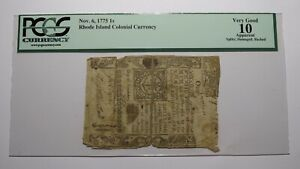 1775 One Shilling Rhode Island RI Colonial Currency Bank Note Bill 1s PCGS VG10