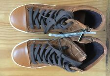Kenneth Cole Boys High Top Brown Leather Sneakers JAY TOP Cognac Size 4 NWOT