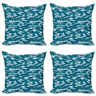 Ambesonne Blue Print Cushion Cover Set of 4 for Couch and Bed in 4 Sizes