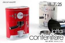BARATTOLO BISCOTTIERA IN LATTA DECORO MACCHINA CAFFE 18*7*25 CM SES-687709