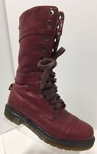 Doc Dr Martens Triumph 1914 Cherry Red Leather Floral Fold Top Cuff Boot Women 8