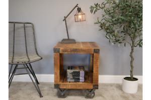Industrial Rustic Mango Wood Wheeled Bedside Cabinet Table