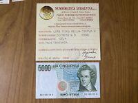 BANCONOTA LIRE 5000 BELLINI TRIPLA D 1996 certificata SPL+ SUBALPINA