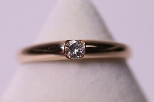 Zarter Solitär Ring aus 14K 585er Roségold mit Brillant 0.10 ct VS / W Gr. 51
