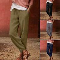 UK Womens Elastic Waist Cotton Casual Loose Baggy Harem Pants Trousers Plus Size