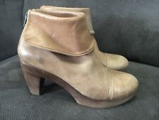 COCLICO BOOTIE 39 $425 Tan Leather Wood Clogs Anthropologie Shoe Ankle Boots Sz8