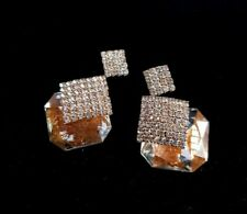 Square Stud Gold Crystal Earrings  Rich Geometric Sparkle