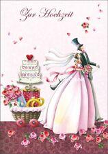 *NINA CHEN*Doppelkarte*Hochzeit*Stoff& Stein*Paar&Torte/Geschenken*