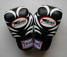 TWINS SPECIAL MUAY THAI KICK BOXING K1 FIGHT MMA 10 OZ. BLACK TATTOO PATTERN